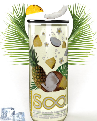 pina colada flavoured carbonated drink with bubbles in a pet transparent can